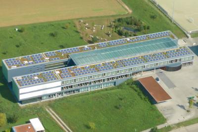 PV-Anlage auf dem Dach des Stromberggymnasiums